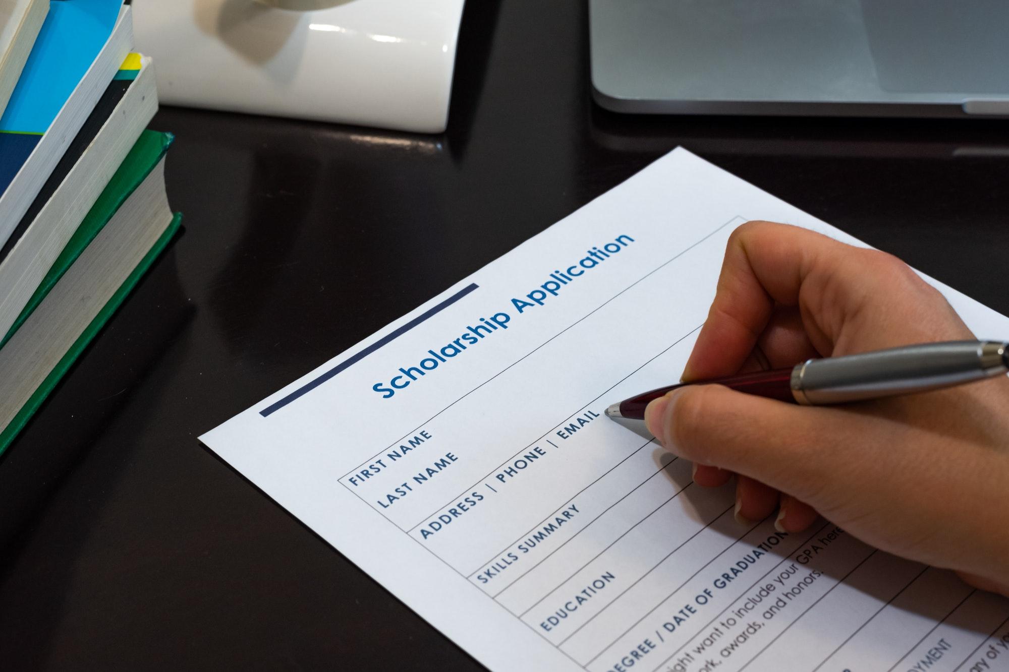 Filling scholarship application form