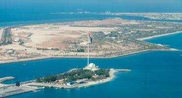 Aerial view on the biggest flag in Abu Dhabi, UAE